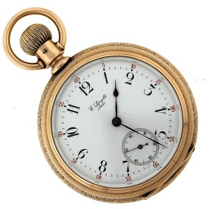 E. Leonville Lock 14K Yellow Rose Gold Hand-Etched Arabic Pocket Watch