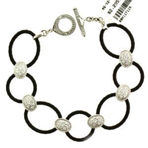 Philippe Charriol Diamond 18 Karat White Gold & Black Charriol Steel Bracelet
