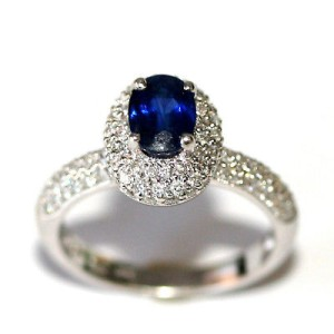 14K White Gold Sapphire Blue Oval Diamond Halo Pave Ring