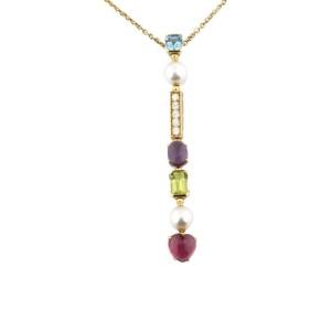 Bulgari 18K Yellow Gold Allegra Multi-Gem Pendant Necklace