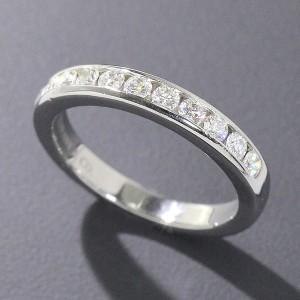 Tiffany & Co. Platinum PT950 Half Diamond Band Ring Size 5.0