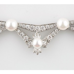 Tiffany & Co. Platinum 5.00ct  Diamond & Pearl Necklace