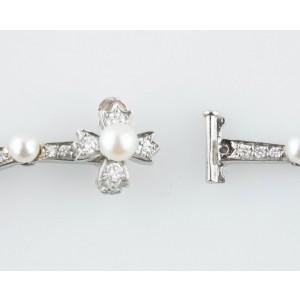 Tiffany & Co. Platinum 5.00ct  Diamond & Pearl Necklace