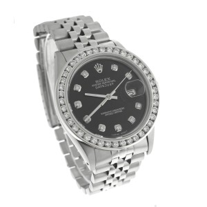 Rolex DateJust 16030 Black Diamond Stainless Steel Jubilee 36mm Unisex Watch