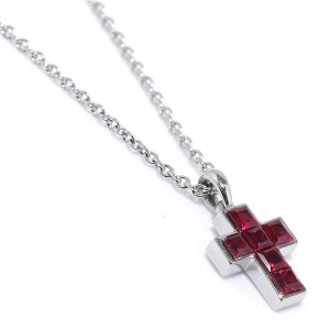 Cartier Platinum & Ruby Cross Necklace
