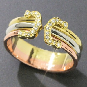 Cartier Double C Yellow, White and Pink Gold and Diamond Ring Size 7.25