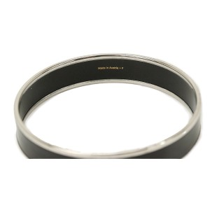 Hermes Silver Plated & Enamel Caleche Bangle Bracelet