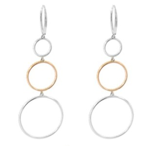14K Multi-Tone Gold Diamond Drop Earrings
