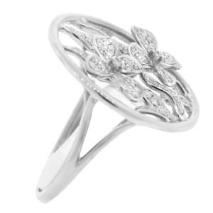 14K White Gold & Diamond Flower Ring
