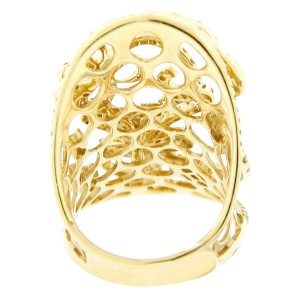 18K Yellow Gold Diamond Filagree 3D Butterfly Ornament Ring
