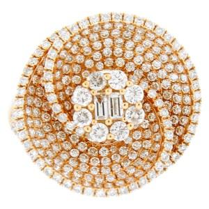18K Rose Gold Flower Center Diamond Swirl Ring