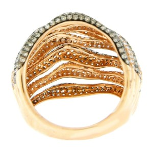 18K Rose Gold Diamond Ribbed Ring