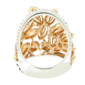 18K Two-Tone Gold & Diamond Leaf Ring