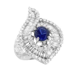 18K White Gold Diamond Embellished and Sapphire Ring
