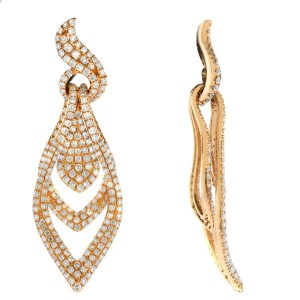 18K Rose Gold Diamond Drop Earrings