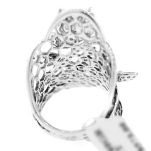 18K White Gold & Diamond Filigree Leaf Ring