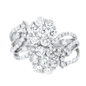 18K White Gold & Diamond Flower Ring