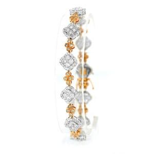 18K Two-Tone Flower Diamond Bracelet