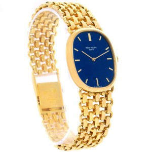 Patek Philippe Golden Ellipse 3648 18K Yellow Gold Blue Dial Watch