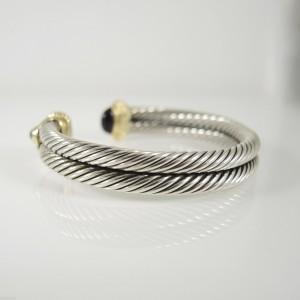 David Yurman Sterling Silver 14K Yellow Gold 2-Row Amethyst Green Onyx Renaissance Bracelet