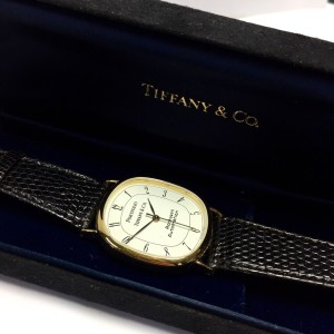Tiffany & Co. Portfolio 18K Yellow Gold / Leather with White Dial 30mm Womens Watch