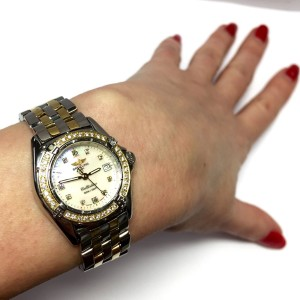 Breitling Callistino 1884 2 Tone W/ Mother Of Pearl Diamond Dial 28mm Womens Watch
