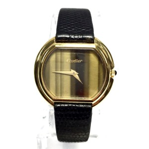 Cartier 18k Yellow Gold Black Band Electroplated Womens 32.5mm Watch