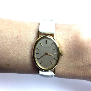 Tiffany & Co. 18K Yellow Gold / Leather with Silver Dial 21mm Womens Watch