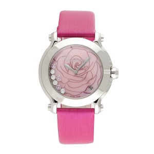 Chopard Happy Sport II La Vie En Rose Pink Rose Dial Pink Satin Floating Diamonds 36mm Womens Watch