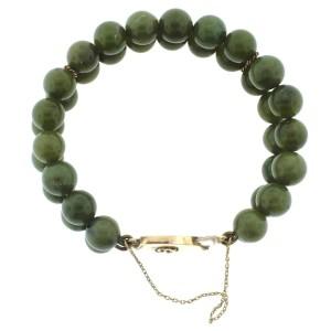 14K Yellow Gold & Jade Bead Bracelet