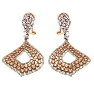Rose Gold Diamond 18K Dangle Earrings