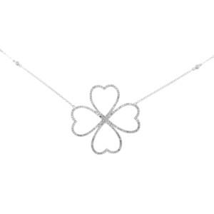 14K White Gold Diamond Hearts Chain