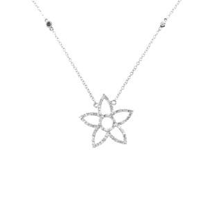 14K White Gold Diamond Star Necklace