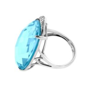 14K White Gold Turquoise & Diamond Cocktail Ring