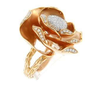 18K Rose Gold Diamond Ball Ring
