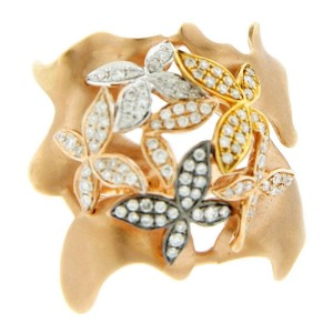 18K Rose Gold & Diamond Abstract Flower Ring
