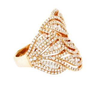 18K Rose Gold Diamond Leaf Ring