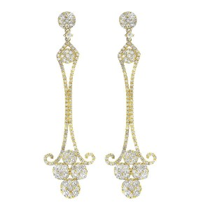18K Yellow Gold & Diamond Chandelier Drop Earrings
