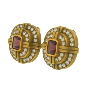 Kieselstein-Cord Pink Tourmaline, Diamond & Gold Vintage Earrings