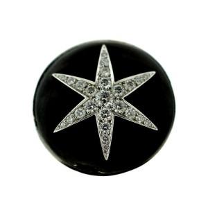 Boucheron 18K White Gold Diamond Star Black Enamel Cocktail Ring