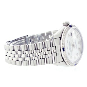 Rolex Datejust 16014 Stainless Steel Mother of Pearl Diamond Dial & Sapphire 36mm Mens Watch