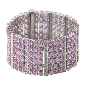 14K White Gold 51.52ct Pink Sapphire & 2.11ct Diamond Plaque Bracelet