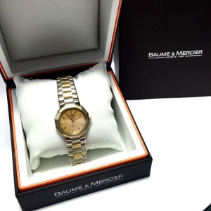 Baume & Mercier Riviera 18K Yellow Gold / Stainless Steel with Gold Dial 30mm Womens Watch