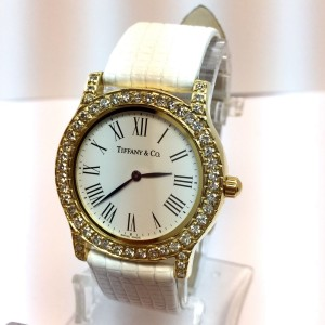 Tiffany & Co. 18K Yellow Gold / Leather with White Dial 34mm Womens Watch