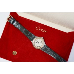 Cartier Santos Cougar 18k Yellow Gold & Stainless Steel with Custom Diamonds & Gray Band 26.5mm Womens Watch