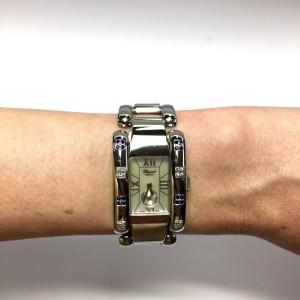 Chopard La Strada Stainless Steel with Custom Diamonds & Dark Blue Sapphires 23.5mm Womens Watch