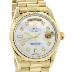 Rolex Day-Date 18038 18K Yellow Gold with Mother of Pearl Dial 36mm Unisex Watch