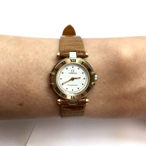 Omega Constellation 18K Yellow Gold / Leather with White Dial 23.5mm Womens Watch