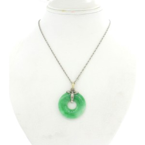 Tiffany & Co. Art Deco Jade Diamond Pendant Necklace