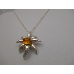 Tiffany & Co. Sterling Silver Amber Citrine Pendant Necklace